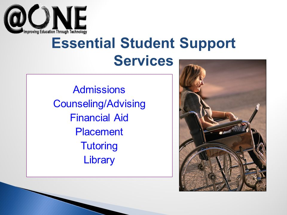 Essential Student Support Services Admissions Counseling/Advising Financial Aid Placement Tutoring Library