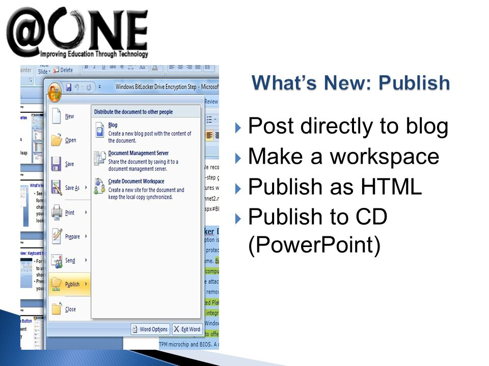 Post directly to blog Make a workspace Publish as HTML Publish to CD (PowerPoint)