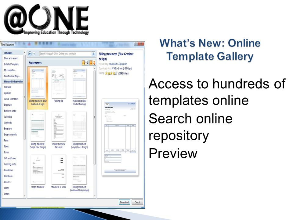 Access to hundreds of templates online Search online repository Preview