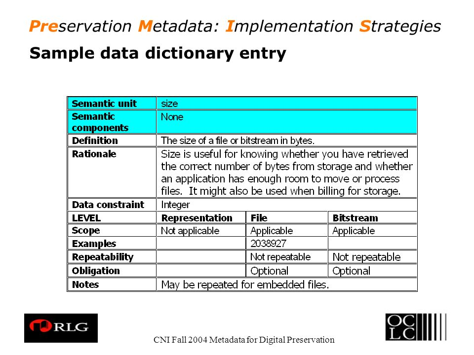 Preservation Metadata: Implementation Strategies CNI Fall 2004 Metadata for Digital Preservation Sample data dictionary entry