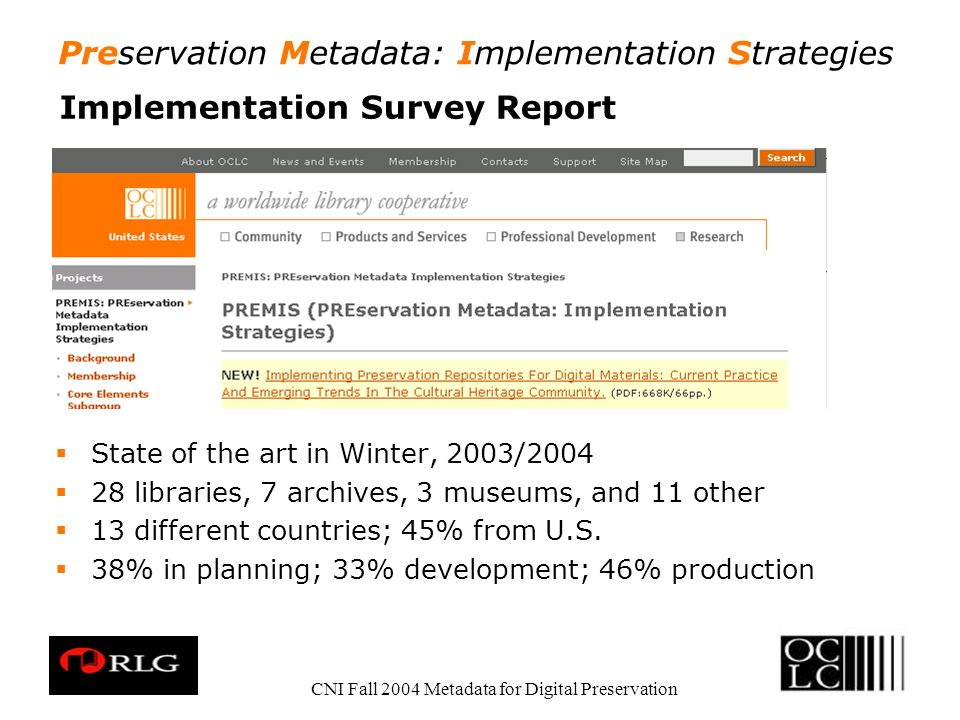 Preservation Metadata: Implementation Strategies CNI Fall 2004 Metadata for Digital Preservation Implementation Survey Report State of the art in Winter, 2003/2004 28 libraries, 7 archives, 3 museums, and 11 other 13 different countries; 45% from U.S.