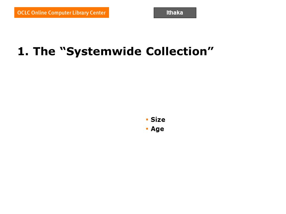 Ithaka 1. The Systemwide Collection Size Age