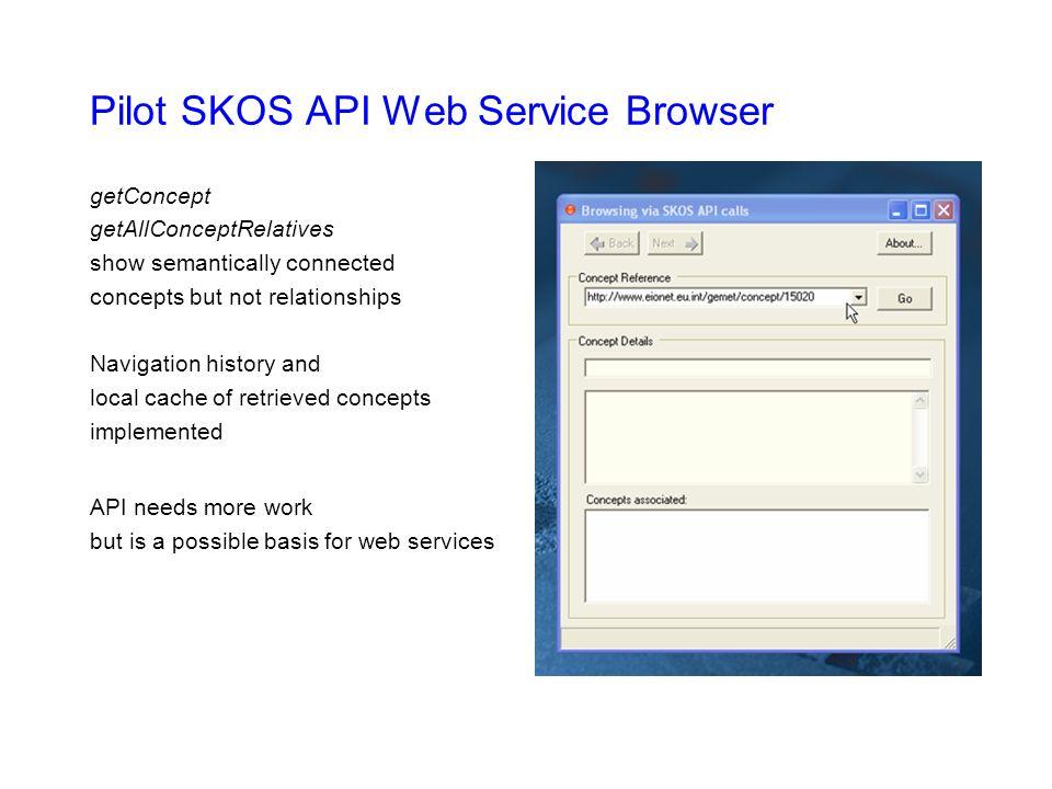 Pilot SKOS API Web Service Browser getConcept getAllConceptRelatives show semantically connected concepts but not relationships Navigation history and