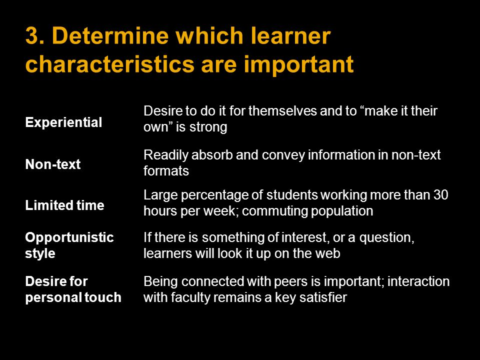 3. Determine which learner characteristics are important Experiential Desire to do it for themselves and to make it their own is strong Non-text Readi