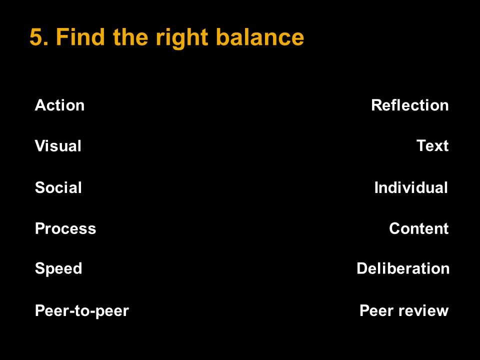 5. Find the right balance ActionReflection Speed Deliberation Peer-to-peerPeer review Visual Text SocialIndividual ProcessContent