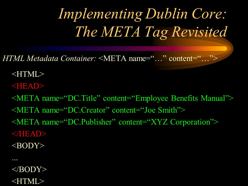 Implementing Dublin Core: The META Tag Revisited HTML Metadata Container:...