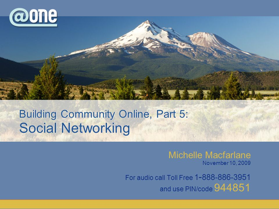 Michelle Macfarlane November 10, 2009 For audio call Toll Free 1 - 888-886-3951 and use PIN/code 944851 Building Community Online, Part 5: Social Networking