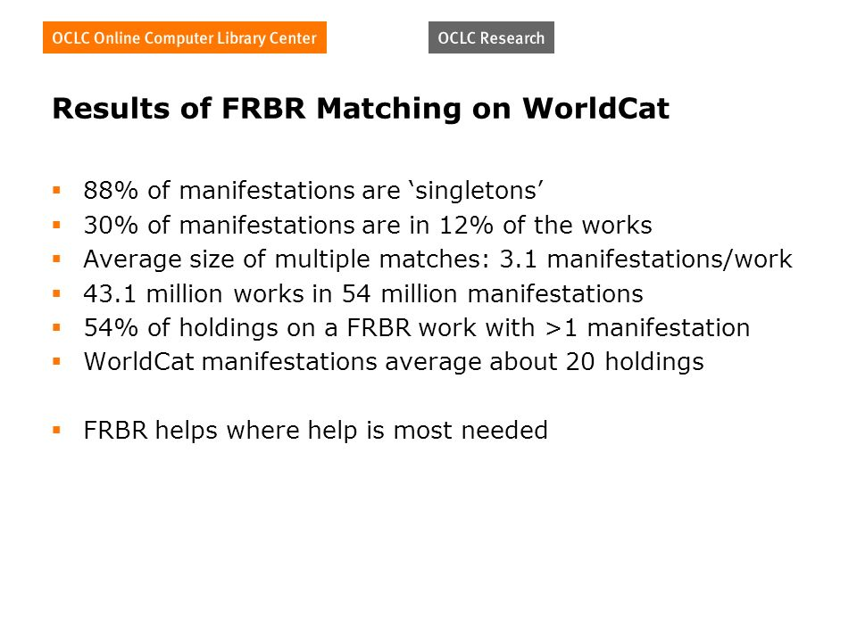 Results of FRBR Matching on WorldCat 88% of manifestations are singletons 30% of manifestations are in 12% of the works Average size of multiple matches: 3.1 manifestations/work 43.1 million works in 54 million manifestations 54% of holdings on a FRBR work with >1 manifestation WorldCat manifestations average about 20 holdings FRBR helps where help is most needed