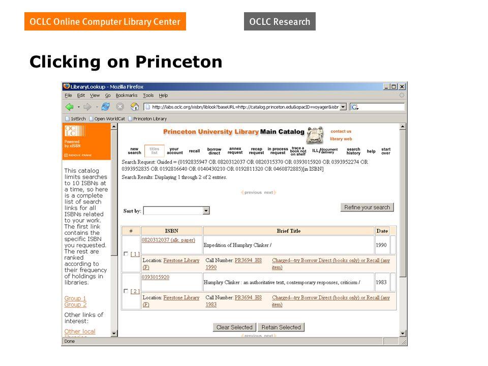 Clicking on Princeton