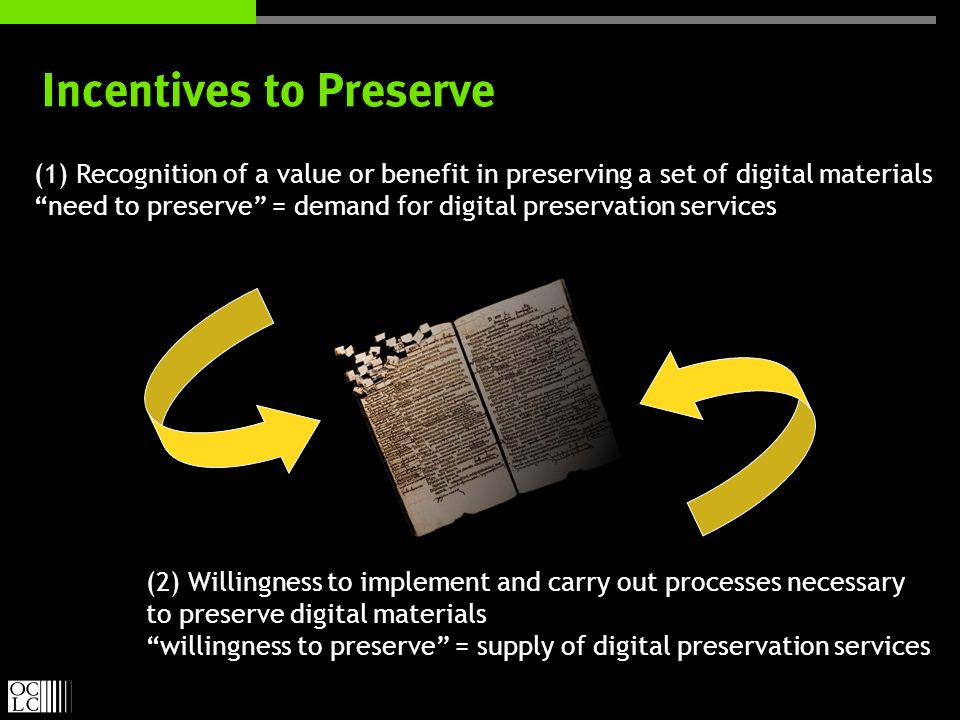 Incentives to Preserve (1) Recognition of a value or benefit in preserving a set of digital materials need to preserve = demand for digital preservation services (1) Recognition of a value or benefit in preserving a set of digital materials need to preserve = demand for digital preservation services (2) Willingness to implement and carry out processes necessary to preserve digital materials willingness to preserve = supply of digital preservation services (2) Willingness to implement and carry out processes necessary to preserve digital materials willingness to preserve = supply of digital preservation services