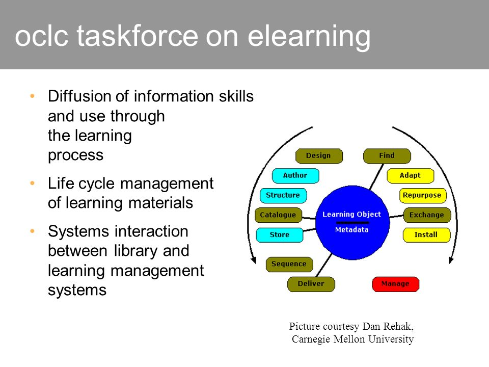 oclc taskforce on elearning Diffusion of information skills and use through the learning process Life cycle management of learning materials Systems i