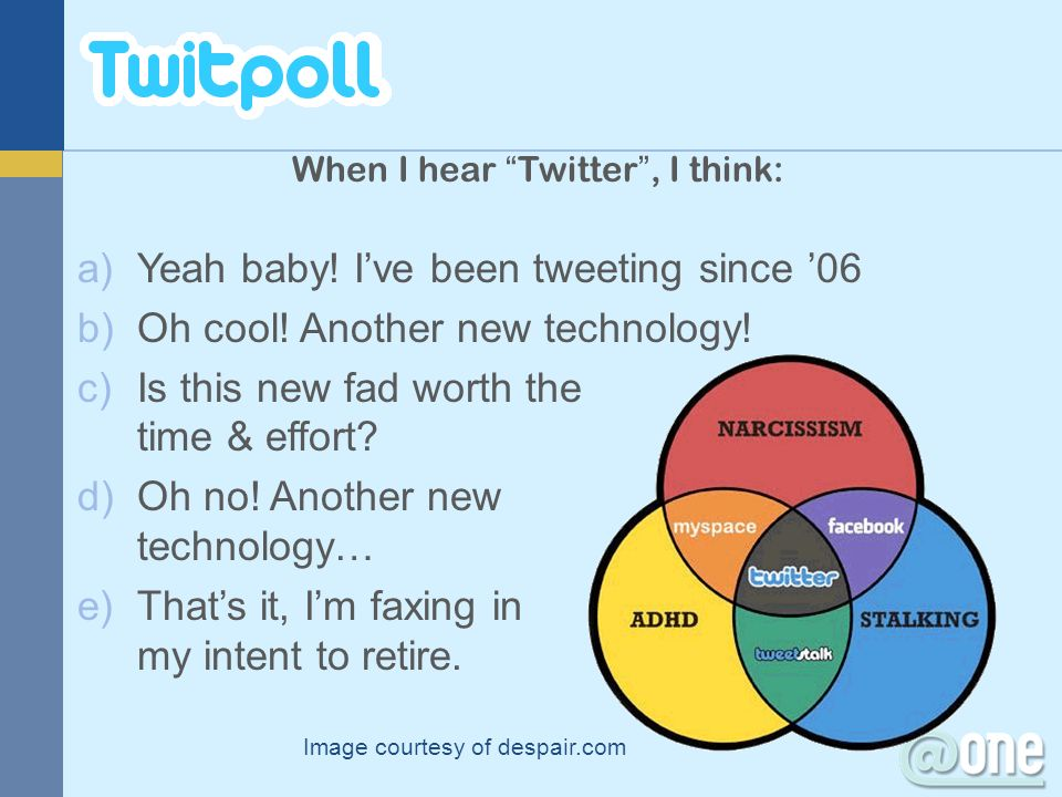 Image courtesy of despair.com When I hear Twitter, I think: a)Yeah baby! Ive been tweeting since 06 b)Oh cool! Another new technology! c)Is this new f