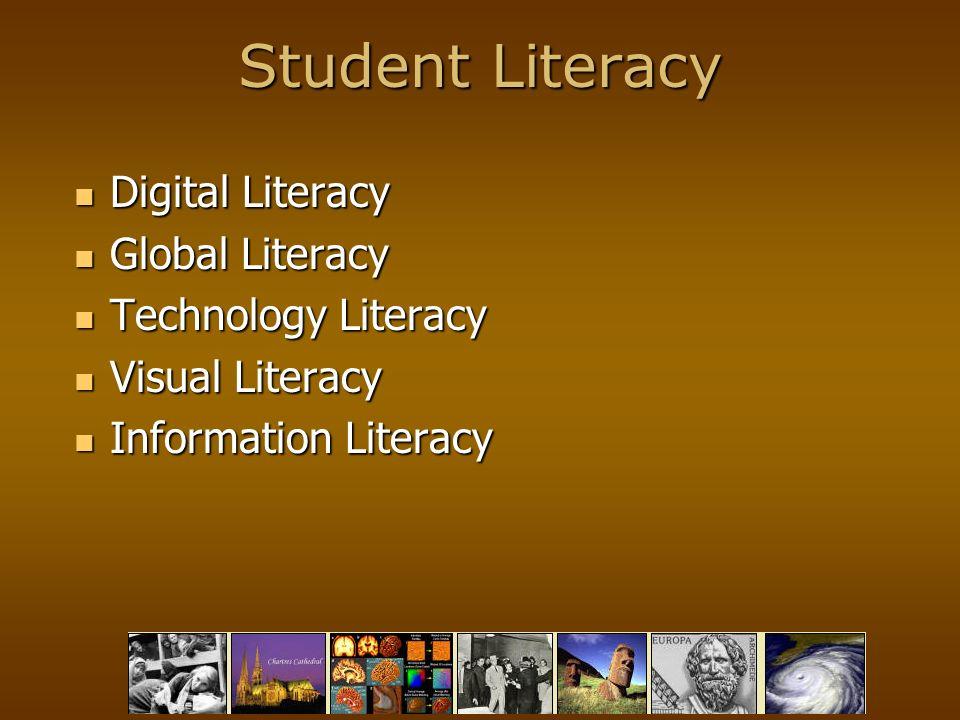 Student Literacy Digital Literacy Digital Literacy Global Literacy Global Literacy Technology Literacy Technology Literacy Visual Literacy Visual Literacy Information Literacy Information Literacy