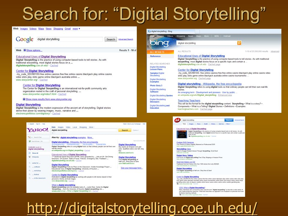 Digital Storytelling Many definitions, but in general: Combines the art of telling stories with some mixture of digital graphics, text, recorded audio narration, video and music to present information on a specific topic.