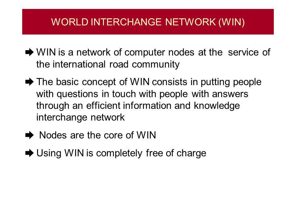 WORLD INTERCHANGE NETWORK (WIN) WIN is a network of computer nodes at the service of the international road community The basic concept of WIN consists in putting people with questions in touch with people with answers through an efficient information and knowledge interchange network Nodes are the core of WIN Using WIN is completely free of charge