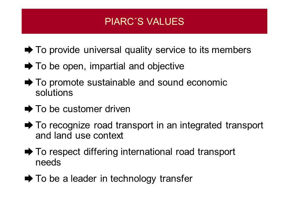 PIARC´S VALUES To provide universal quality service to its members To be open, impartial and objective To promote sustainable and sound economic solutions To be customer driven To recognize road transport in an integrated transport and land use context To respect differing international road transport needs To be a leader in technology transfer