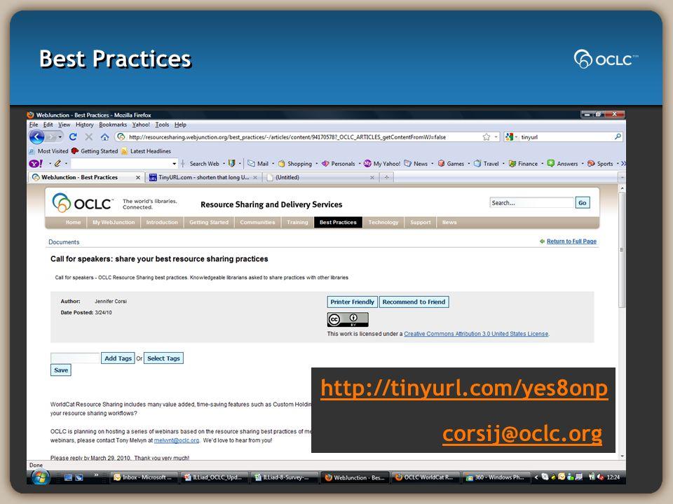 Best Practices http://tinyurl.com/yes8onp corsij@oclc.org