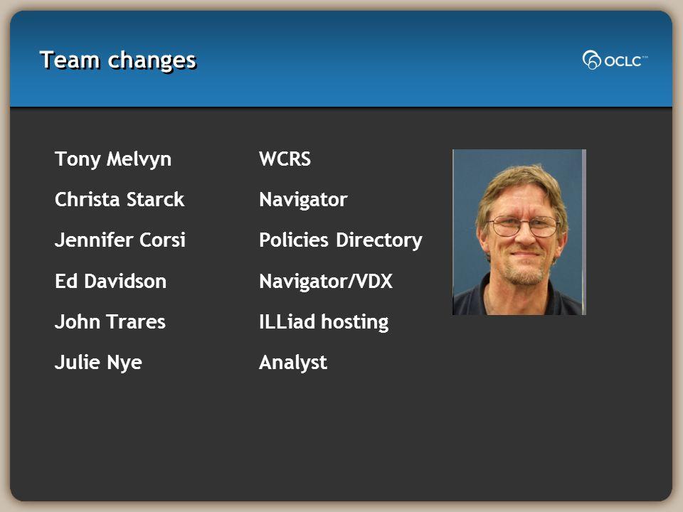Team changes Tony MelvynWCRS Christa StarckNavigator Jennifer CorsiPolicies Directory Ed DavidsonNavigator/VDX John Trares ILLiad hosting Julie NyeAna