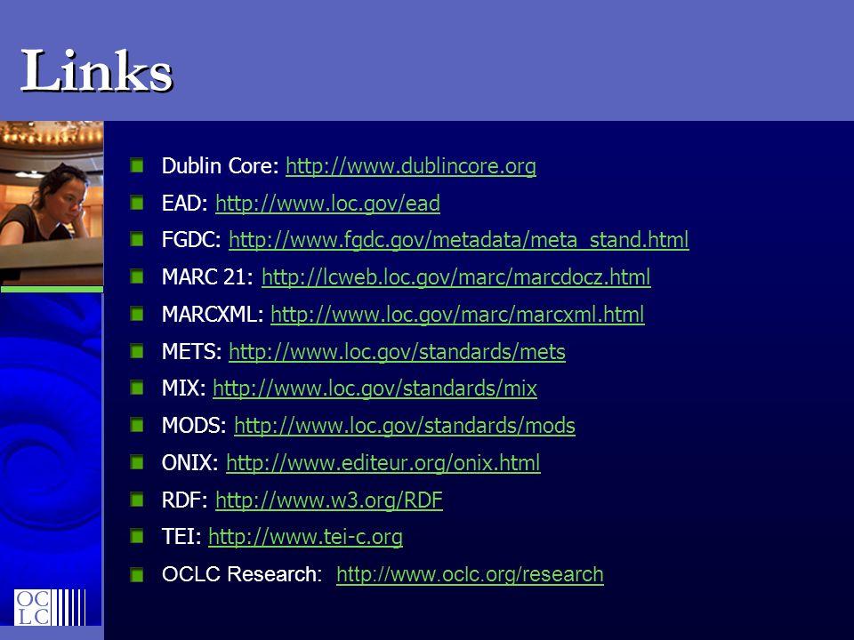 Links Dublin Core: http://www.dublincore.orghttp://www.dublincore.org EAD: http://www.loc.gov/eadhttp://www.loc.gov/ead FGDC: http://www.fgdc.gov/meta