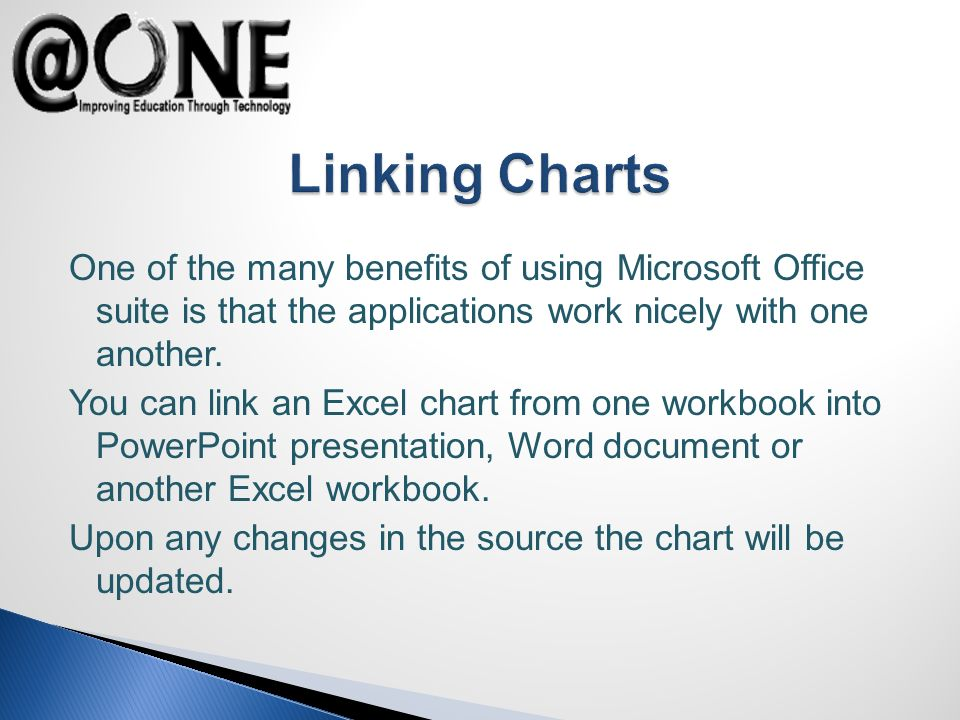 One of the many benefits of using Microsoft Office suite is that the applications work nicely with one another. You can link an Excel chart from one w