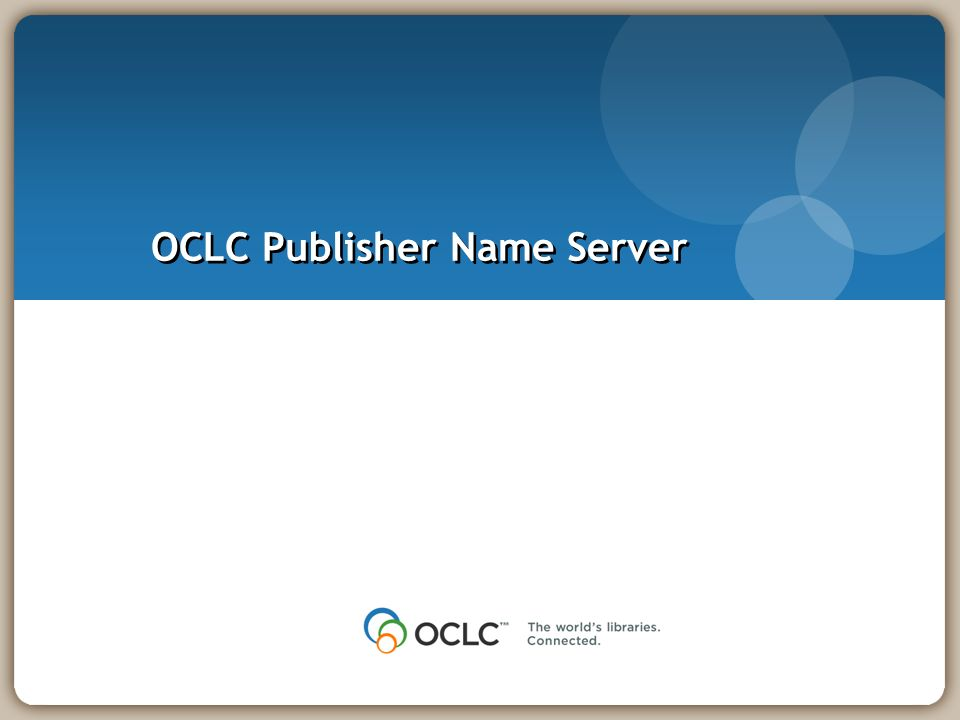 OCLC Publisher Name Server