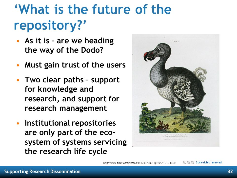 Supporting Research Dissemination32 What is the future of the repository? As it is – are we heading the way of the Dodo? Must gain trust of the users