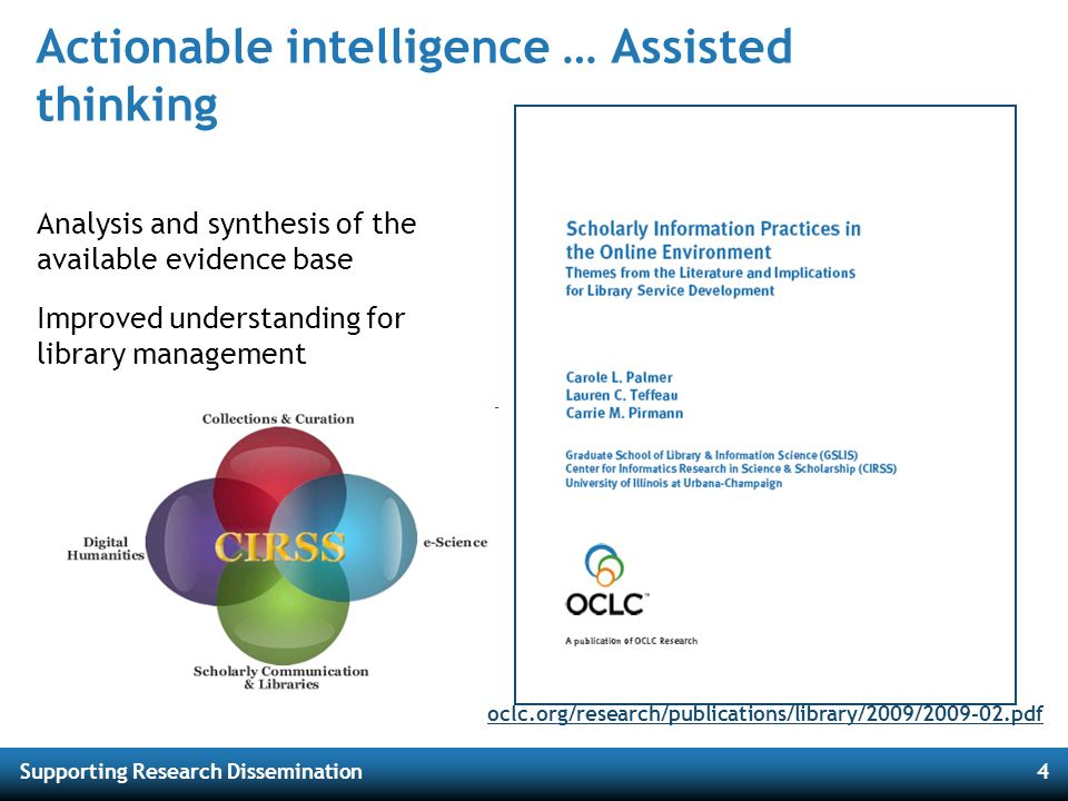 Supporting Research Dissemination4 Actionable intelligence … Assisted thinking Analysis and synthesis of the available evidence base Improved understa