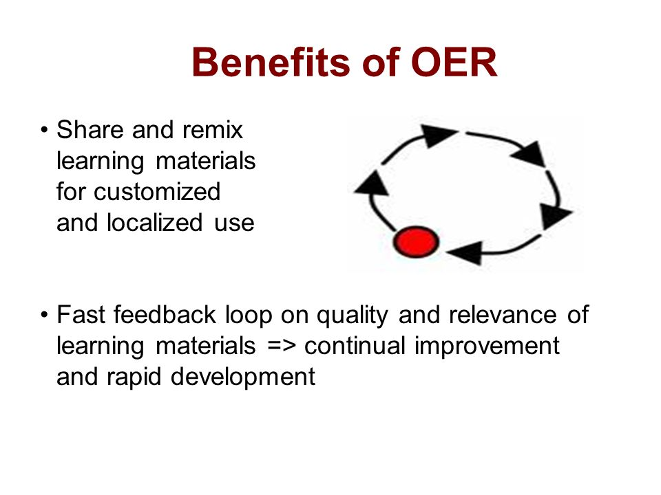 Benefits of OER Share and remix learning materials for customized and localized use Fast feedback loop on quality and relevance of learning materials => continual improvement and rapid development