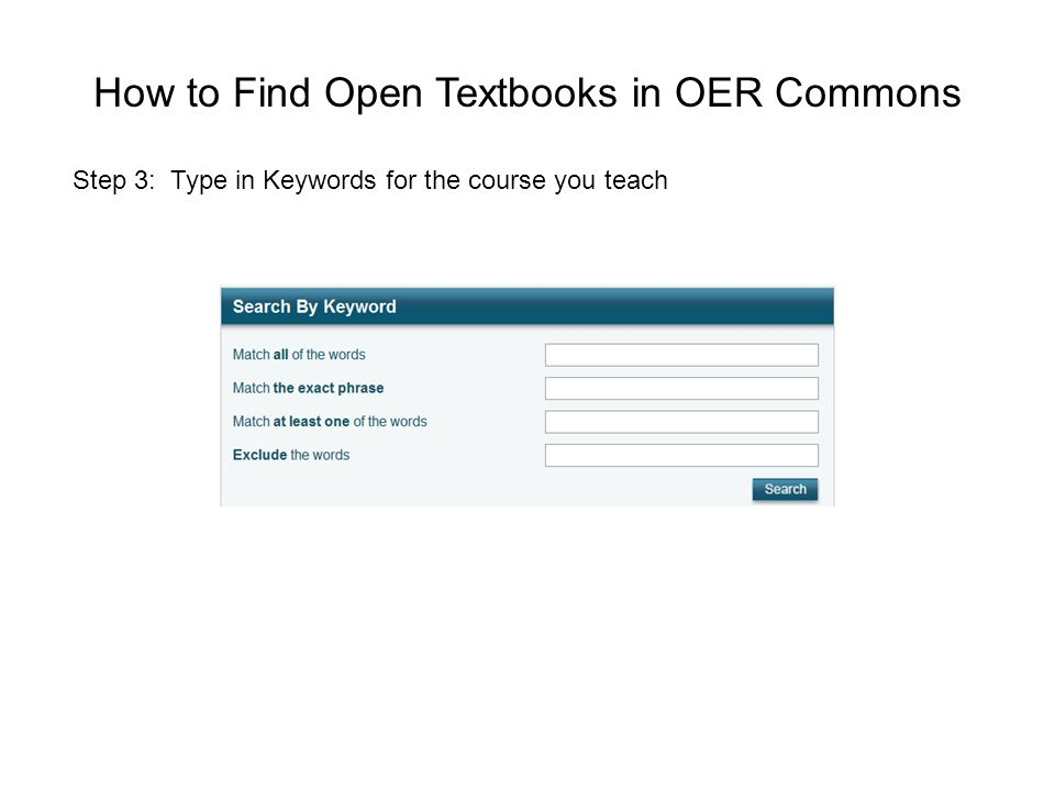 How to Find Open Textbooks in OER Commons Step 3: Type in Keywords for the course you teach