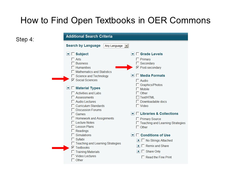 How to Find Open Textbooks in OER Commons Step 4: