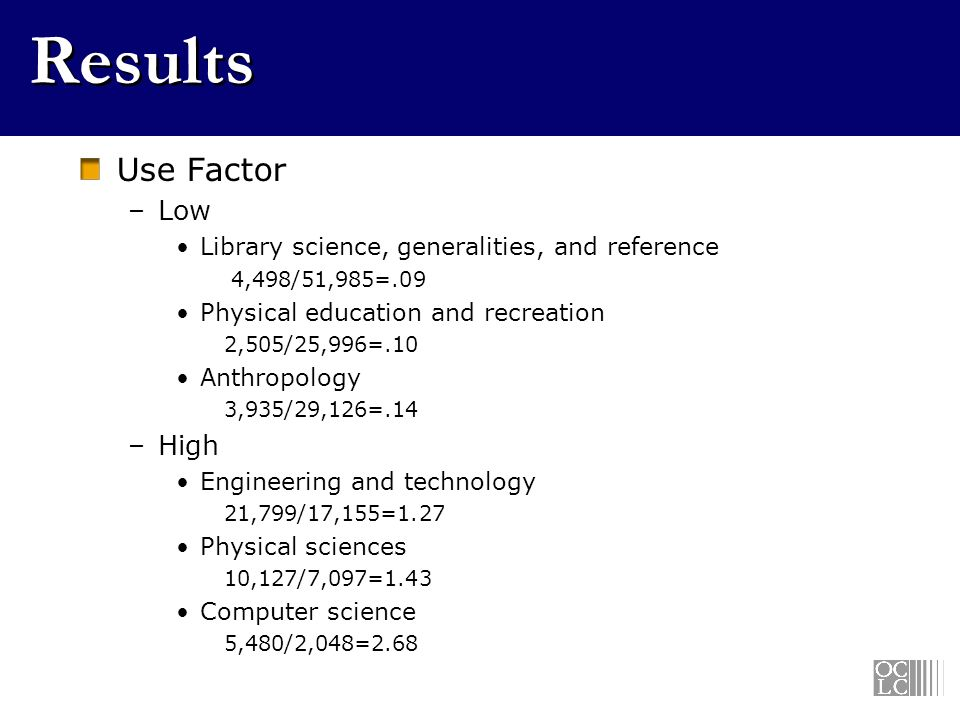 Results Use Factor –Low Library science, generalities, and reference 4,498/51,985=.09 Physical education and recreation 2,505/25,996=.10 Anthropology 3,935/29,126=.14 –High Engineering and technology 21,799/17,155=1.27 Physical sciences 10,127/7,097=1.43 Computer science 5,480/2,048=2.68