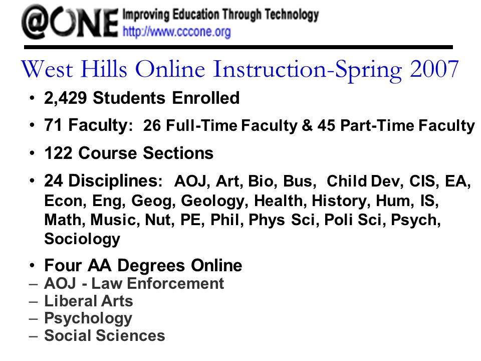 West Hills Online Instruction-Spring 2007 2,429 Students Enrolled 71 Faculty : 26 Full-Time Faculty & 45 Part-Time Faculty 122 Course Sections 24 Disciplines : AOJ, Art, Bio, Bus, Child Dev, CIS, EA, Econ, Eng, Geog, Geology, Health, History, Hum, IS, Math, Music, Nut, PE, Phil, Phys Sci, Poli Sci, Psych, Sociology Four AA Degrees Online –AOJ - Law Enforcement –Liberal Arts –Psychology –Social Sciences