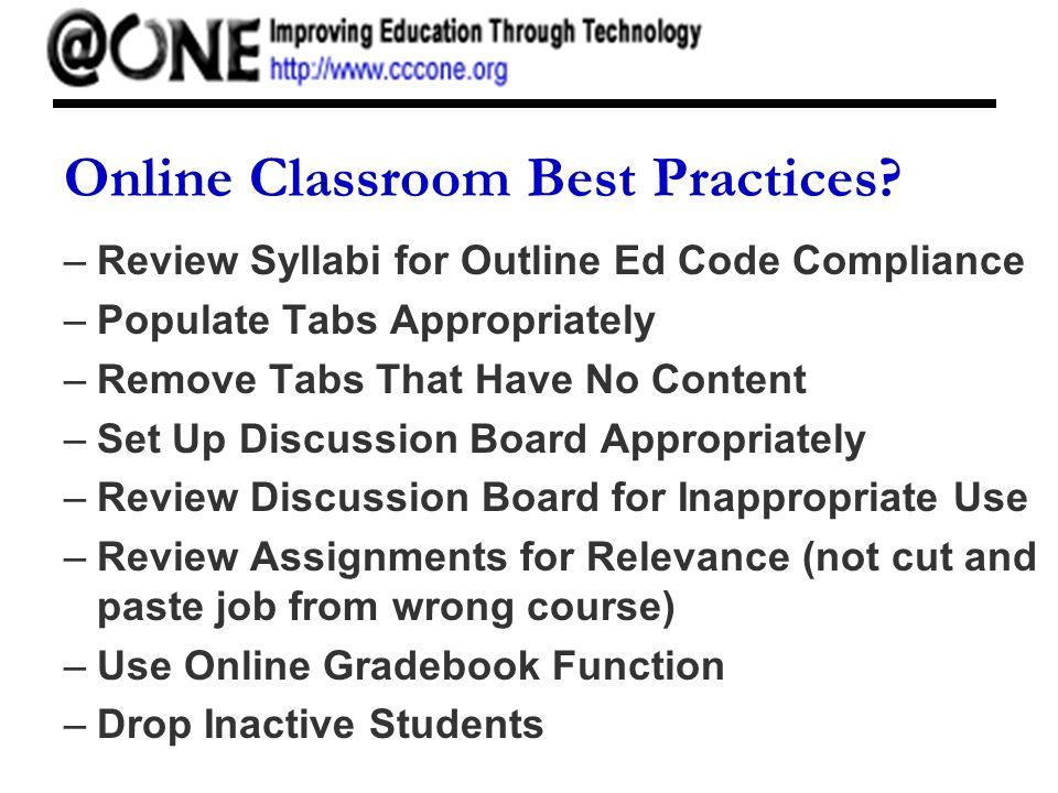 Online Classroom Best Practices.