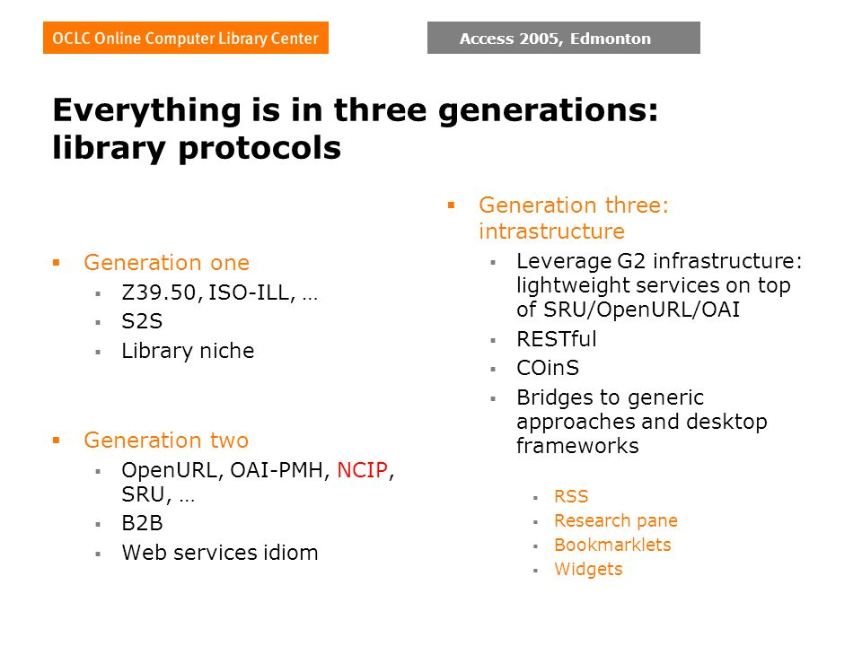 Access 2005, Edmonton Everything is in three generations: library protocols Generation one Z39.50, ISO-ILL, … S2S Library niche Generation two OpenURL