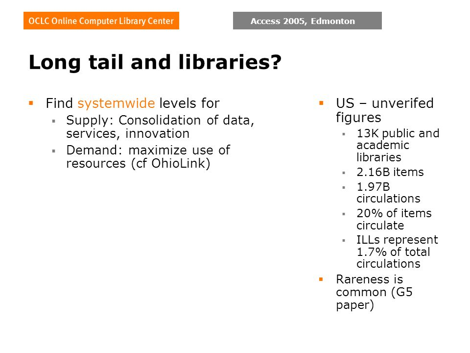 Access 2005, Edmonton Long tail and libraries? Find systemwide levels for Supply: Consolidation of data, services, innovation Demand: maximize use of