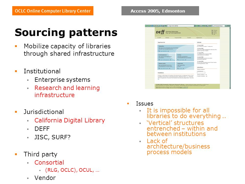 Access 2005, Edmonton Sourcing patterns Mobilize capacity of libraries through shared infrastructure Institutional Enterprise systems Research and lea