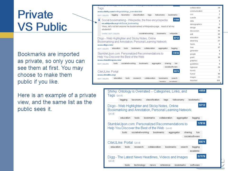 Private VS Public Bookmarks are imported as private, so only you can see them at first.
