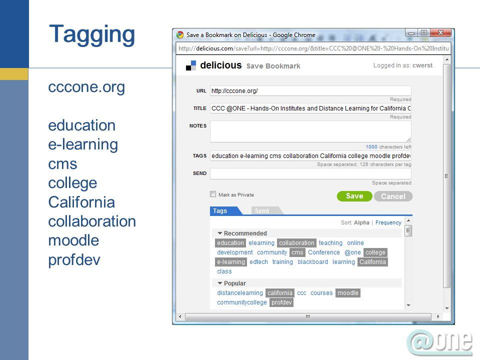 Tagging cccone.org education e-learning cms college California collaboration moodle profdev