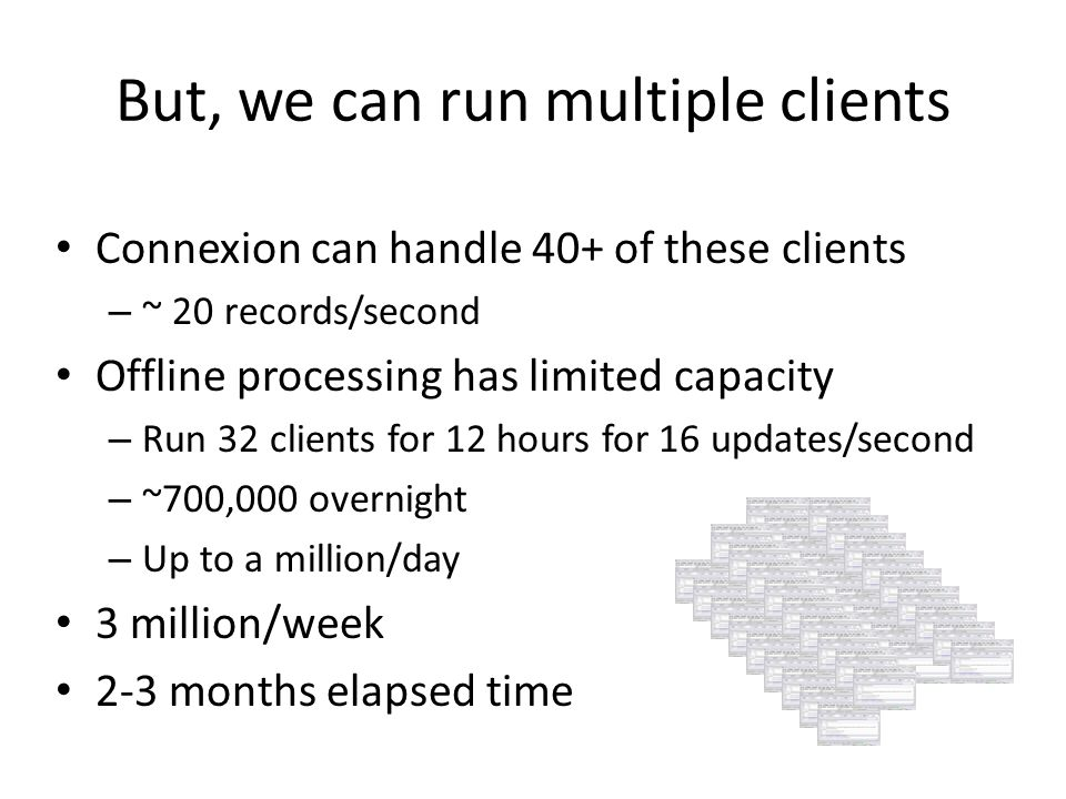 But, we can run multiple clients Connexion can handle 40+ of these clients – ~ 20 records/second Offline processing has limited capacity – Run 32 clients for 12 hours for 16 updates/second – ~700,000 overnight – Up to a million/day 3 million/week 2-3 months elapsed time