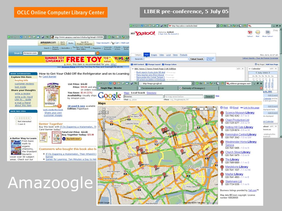 LIBER pre-conference, 5 July 05 Amazoogle