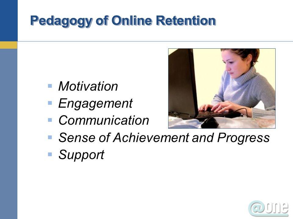 Pedagogy of Online Retention Motivation Engagement Communication Sense of Achievement and Progress Support