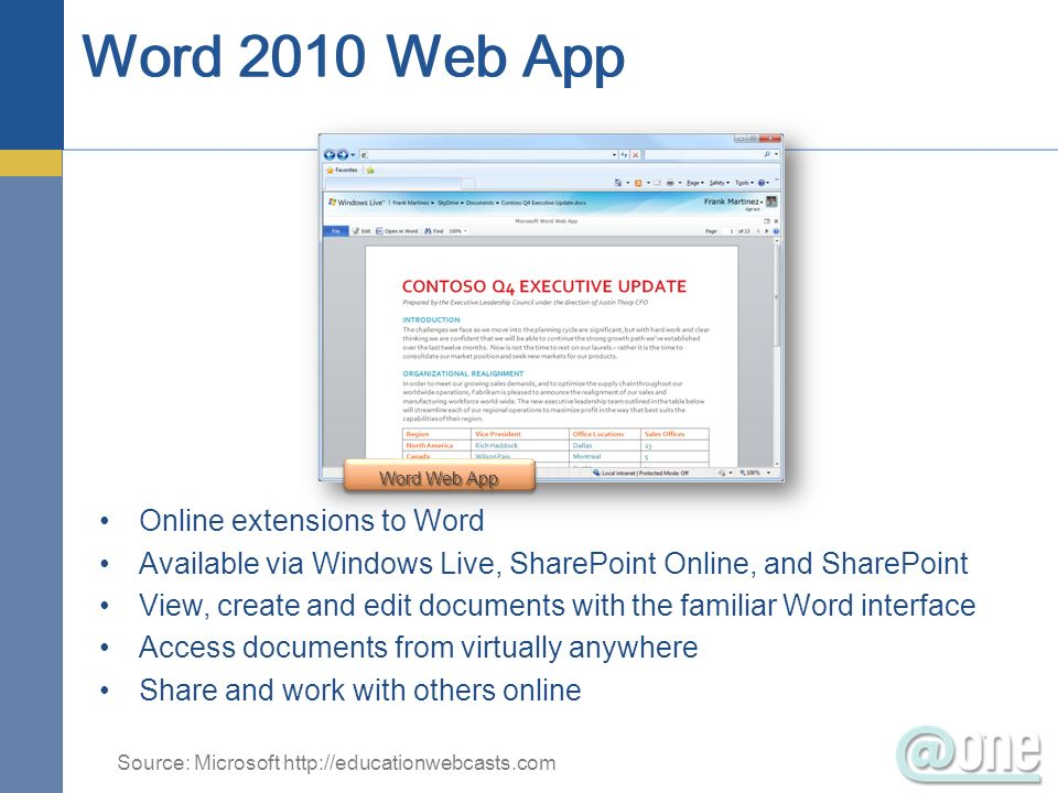 Online extensions to Word Available via Windows Live, SharePoint Online, and SharePoint View, create and edit documents with the familiar Word interface Access documents from virtually anywhere Share and work with others online Word Web App Source: Microsoft