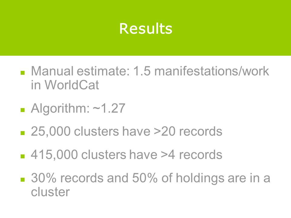 Results Manual estimate: 1.5 manifestations/work in WorldCat Algorithm: ~1.27 25,000 clusters have >20 records 415,000 clusters have >4 records 30% records and 50% of holdings are in a cluster