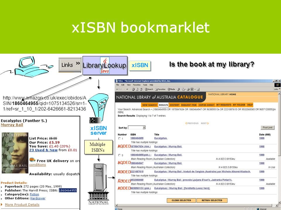 xISBN bookmarklet http://www.amazon.co.uk/exec/obidos/A SIN/1860464955/qid=1075134526/sr=1- 1/ref=sr_1_10_1/202-6426661-8213436 xISBN server LibraryLookup xISBN Multiple ISBNs ADDED Is the book at my library