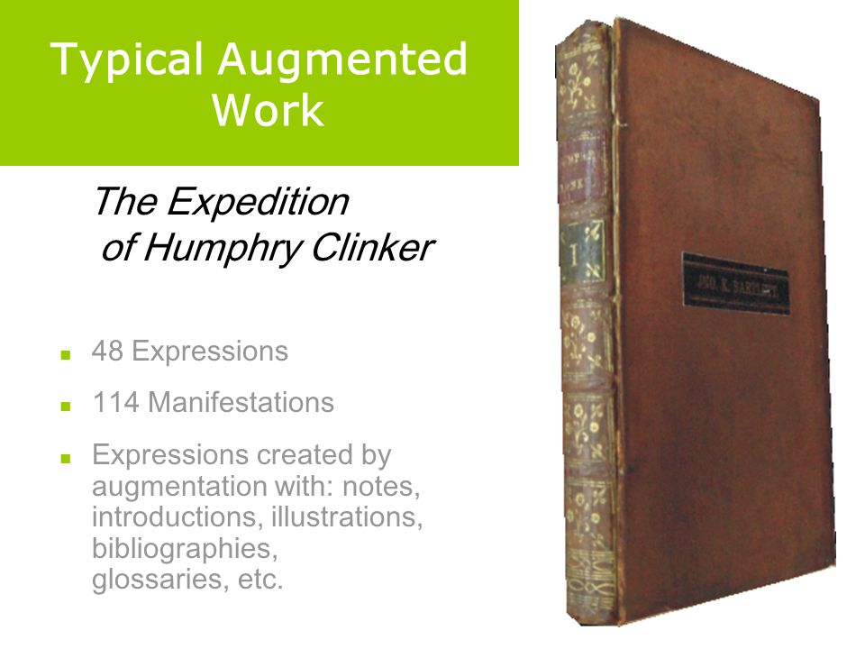 Typical Augmented Work 48 Expressions 114 Manifestations Expressions created by augmentation with: notes, introductions, illustrations, bibliographies, glossaries, etc.
