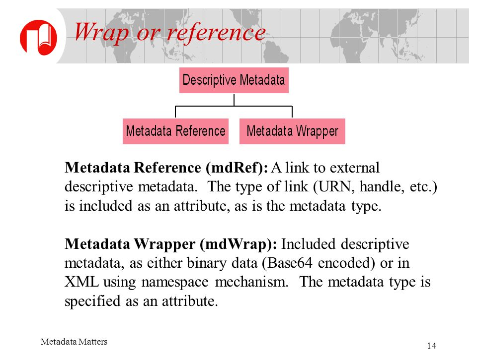 Metadata Matters 14 Metadata Reference (mdRef): A link to external descriptive metadata. The type of link (URN, handle, etc.) is included as an attrib