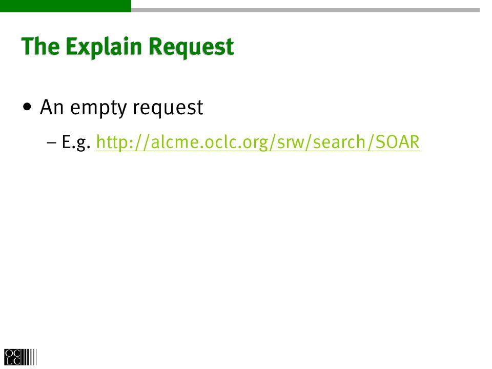 The Explain Request An empty request – E.g.