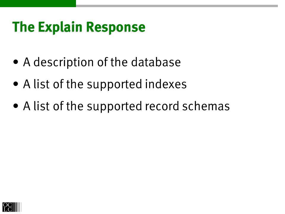 The SearchRetrieve Request String CQL Query Integer StartRecord Integer MaximumRecords String RecordSchema http://alcme.oclc.org/srw/search/SOAR?query= dog