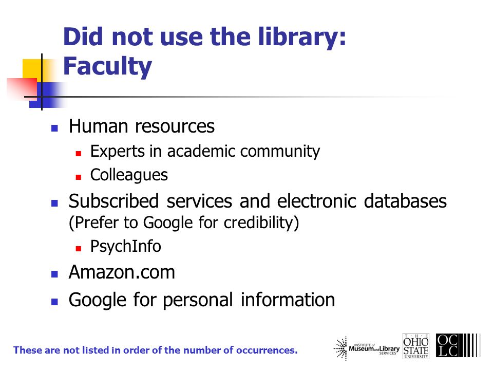 Did not use the library: Faculty Human resources Experts in academic community Colleagues Subscribed services and electronic databases (Prefer to Goog