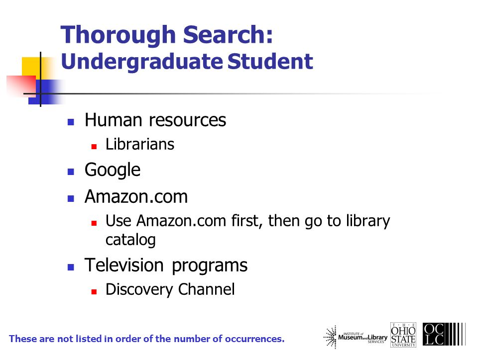 Thorough Search: Undergraduate Student Human resources Librarians Google Amazon.com Use Amazon.com first, then go to library catalog Television progra